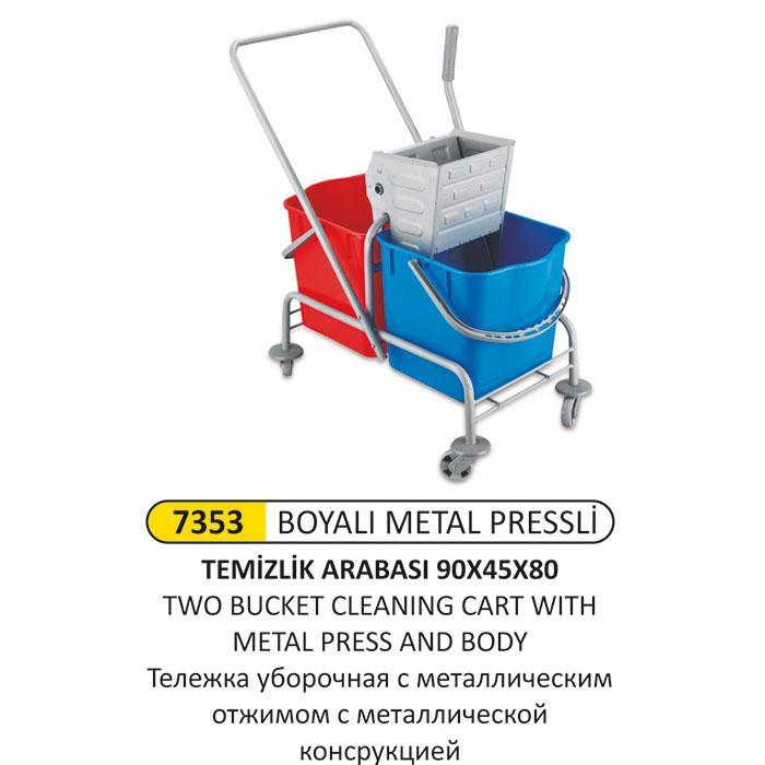 7353 BOYALI METAL PRESSLİ TEMİZLİK ARABASI 90x45x87
